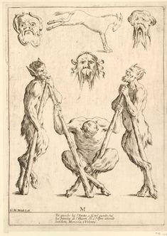 Mitelli, the artist who dreamed of the alphabet - Italian Ways Confused Images, Italian Alphabet, Demonology, Satyr, Irezumi, Vintage Books, Mythology, Art Reference, Sketches
