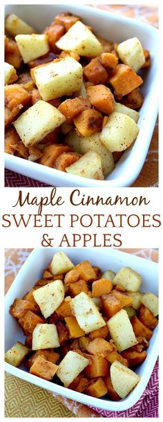 Sweet Potatoes and Apples with Cinnamon & Maple : This apple and sweet potato recipe reminded me of apple pie, but with sweet potatoes in the mix! The tart apples offset the sweet to make this dish absolutely delish! A great fall side dish recipe! Potato And Apple Recipe, Sweet Potato And Apple, Sweet Potato Side Dish, Side Dishes With Potatoes, Meals With Sweet Potatoes, Crockpot Sweet Potato Recipes, Fall Recipes, Holiday Recipes, Thanksgiving Recipes Side Dishes Yams