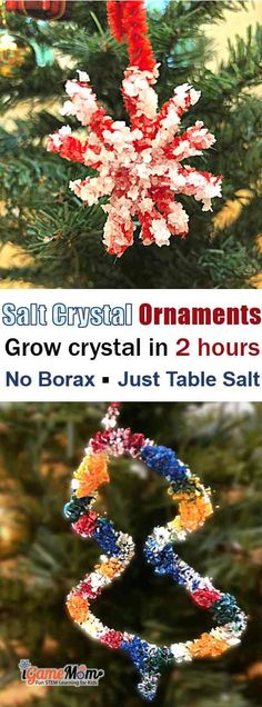 Grow salt crystal ornaments in 2 hours, so easy kids can make them at home. So fast, you don't have to wait over night to see the effect. Just regular table salt, pipe cleaner, contruction paper. No borax. Fun STEAM holiday project to learn science chemistry solubility and saturation. salt crystal science experiment #STEMforKids #ScienceForKids #iGameMomSTEM
