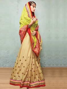 Light Green And Cream Net Saree With Resham And Zari Embroidery Work #wedding #saree