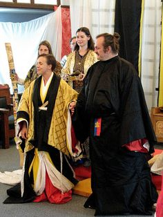 A man and woman wearing heian era robes for an SCA event. via Flickr SCA.
