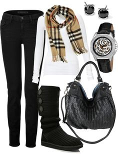 simple but cute! plain white long sleeve Burberry scarf mk watch pearl or diamond earrings black short ugg boots or moccasins