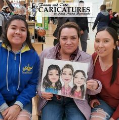 Mother and 2 daughters caricature. To own your personal Mother-daughter caricature call artist Marta Sytniewski at 773-574-7767 or email FunnyAndCuteCaricatures@gmail.com  #MotherDaughterCaricatutre #MotherDaughtersCaricatutre #Mother2DaughtersCaricatutre #Mothercaricature #MartaSytniewski #FunnyAndCuteCaricatures Child Face, Steven Spielberg, Jay Z, Caricatures, Funny Gifts, Daughters, Mothers, Portrait, Children