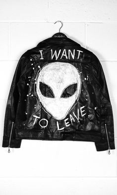 I Want To Leave Leather Jacket #disturbiaclothing disturbia leather jacket biker dress metal alien goth occult grunge alternative punk