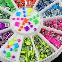 Оч много штучек + для Куклы_6 неоновые цвета плакировкой резкое круглая площадь сплав ногтей наклейки блеск советы мода ногтей инструменты украшение штамповка