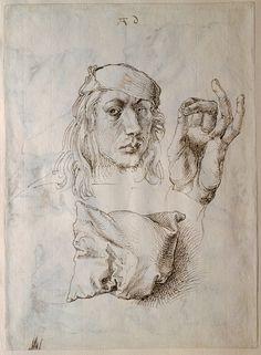 Albrecht Dürer. Self-portrait, Study of a Hand and a Pillow (recto); Six Studies…