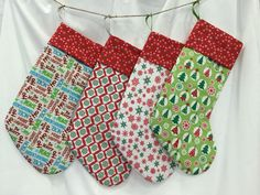Christmas Stockings (lined, colorful, fun) by BarleyHill on Etsy https://www.etsy.com/listing/253256759/christmas-stockings-lined-colorful-fun
