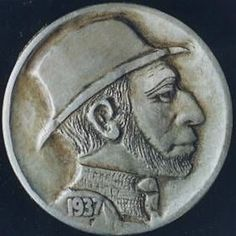 Owen Covert - Bearded Man Wearing Top Hat Hobo Nickel, Bearded Men, Buffalo, Classic Style, Cactus, Auction, Carving, Hat, Succulents