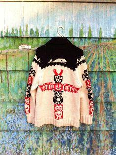 Vintage 1950's Wool Totem Pole Cowichan Sweater