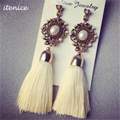 Retro Royal Pearl Long Gem Tassel Earring Rhinestone Yarn Ethnic Wire Fashion Drop Earrings -Available in 8 more colors - free shipping worldwide