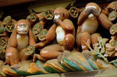 Nikko three wise monkeys. Hear no evil, speak no evil, see no evil. One of my favorite places in Japan!