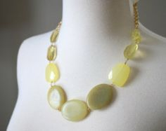 Bold Yellow Stone Statement Necklace, Chunky Necklace, Bib Necklace, Serpentine Necklace, Bold Necklace (pinned from Etsy)