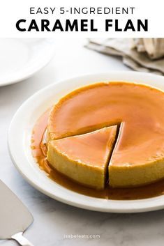 An easy flan recipe made with only 5 simple ingredients! This creamy custard dessert is topped with rich caramel and is very popular in Mexico, Spain and Latin America. It's a showstopper dessert that is sure to impress friends and family. #flanrecipe #custard Custard Desserts, Flan Dessert, Plats Latinos, Mexican Bakery, Mexican Flan, Mexican Chorizo, Mexican Dishes, Mexican Dessert Recipes, Filipino Desserts