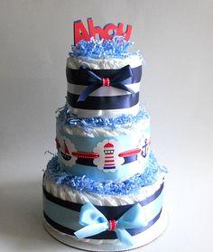 Nautical Theme Diaper Cake. $42.00, via Etsy.