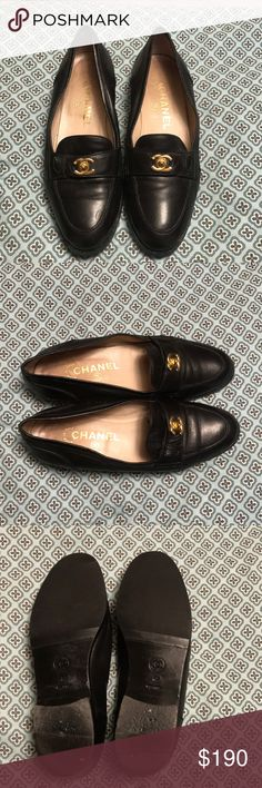 a9f45422e89 CHANEL LOAFERS Chanel Black Loafer with Gold CC Hardware in Great condition  CHANEL Shoes Flats