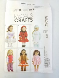 McCall's Craft M6257 Pattern 18 Doll Clothes Uncut