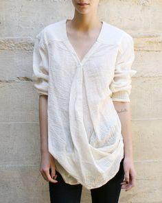 Alexander Yamaguchi  Overlap Shirt in White