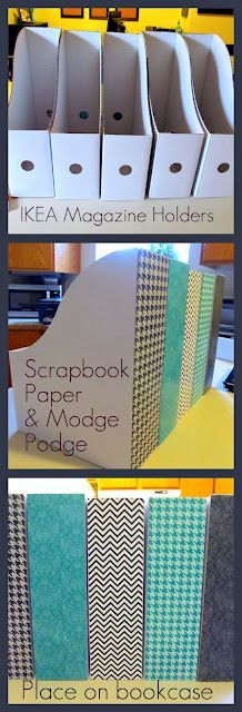 IKEA magazine holders ($3 dollars or less) + scrapbook paper + modge podge. Perfect for office organization. Love!