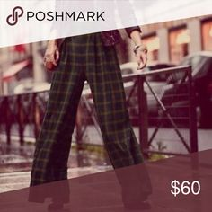 Free People Green Plaid pants These are amaze😍 high waisted and very wide leg. They look great with a cropped sweater or a tucked in tee! Free People Pants Wide Leg