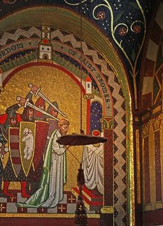 Martyrdom of St Thomas Becket-Vaughan chantry, Westminster Cathedral, London. Westminster Cathedral, Canterbury Cathedral, Catholic Saints, St Thomas, All Saints, Our Lady, Pilgrimage, Archaeology, Beautiful Images