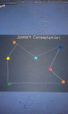 Preschool construction paper sticker constellation space art
