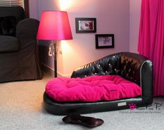 Hot Pink & Black Sofa Bed & Toy - Soft and comfortable faux suede as cushion and outer covers. Removable and ultra soft cushion is filled with high quality and non-clumping cotton inside. For the pampered pooch!