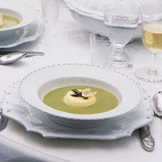Asparagus Soup with Parmesan Custards