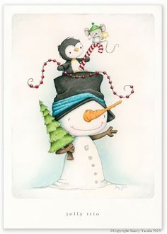 """Items similar to art print - christmas - winter - snowman - penguin - mouse - illustration - friends - """"JOLLY TRIO!"""" on Etsy Christmas Clipart, Noel Christmas, Christmas Printables, Christmas Pictures, Winter Christmas, Vintage Christmas, Winter Snow, Christmas Drawing, Christmas Paintings"""