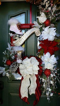 Guirlande de Noël, Poinsettia guirlande, guirlande de Noël rouge, guirlande de Noël blanc, couronne de patin à glace, luxe Noël Decor, Decor de Noël