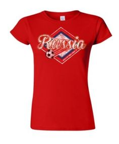 Russia Football World Cup Ladies Retro Soccer T-Shirt available at http://www.world-cup-products-worldwide.com/russia-football-world-cup-ladies-retro-soccer-t-shirt/