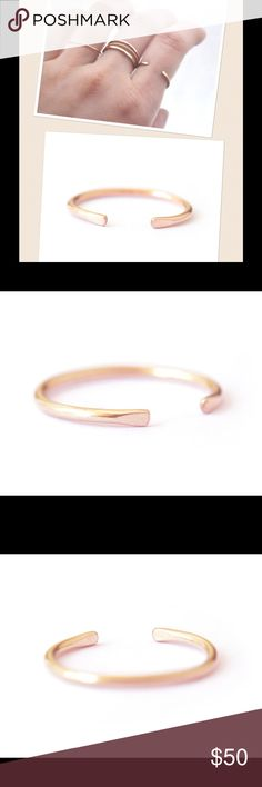 SALE! 14K Rose Gold Horseshoe Ring A pretty, pink 14k solid rose gold horseshoe ring. Hallmarked 14k. Available in sizes 2-13. nejd Jewelry Rings