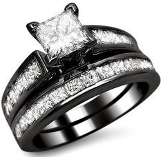 MOMMIES ABSOLUTE DREAM RING!!!       2.15ct Princess Cut Diamond Engagement Ring Bridal Set 14k Black Gold 1
