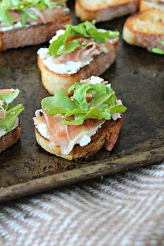 Whipped Goat Cheese Crostini with Prosciutto and Arugula