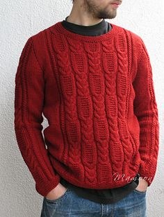 A men's pullover with wide cable panel on the front and on the sleeves. Front cables are inspired by the car tire trace.