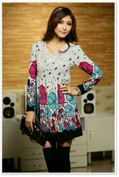 Korean Fashion Lotus Leaf Winter Dress