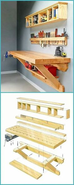 Palettenholz mit Ideen - Ellise M. - Palettenholz mit Ideen – Palettenholz mit Ideen – Ellise M. Garage Workbench Plans, Diy Workbench, Woodworking Bench Plans, Woodworking Furniture, Mobile Workbench, Folding Workbench, Workbench Organization, Furniture Plans, Small Workbench