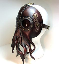 Steampunk Cthulhu Mask , unique leather squid lovecraft, with riveted lenses tooled with brass and copper gears sprockets. Steampunk Cosplay, Viktorianischer Steampunk, Design Steampunk, Steampunk Kunst, Steampunk Clothing, Steampunk Fashion, Steampunk Octopus, Steampunk Artwork, Cthulhu