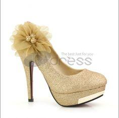 New fashion golden wedding shoes