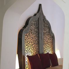 light added to back of headboard Add small stencil cut outs / carving to Indonesian Bed ?Marrakesh light added to back of headboard Add small stencil cut outs / carving to Indonesian Bed ? Moroccan Theme, Moroccan Bedroom, Moroccan Interiors, Moroccan Design, Moroccan Style, Design Marocain, Style Marocain, Marrakech, Home Bedroom