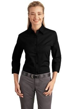 Port Authority Ladies 34Sleeve Easy Care Shirt  Black L612 2XL * Click image to review more details.
