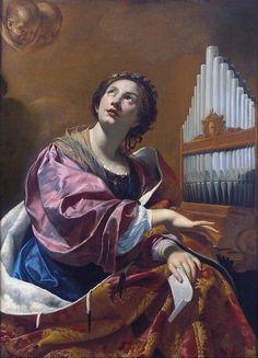 """SANTA CECÍLIA - sua festa é celebrada dia 22 de novembro, dia da música e dos músicos, de quem é padroeira, por ter entoado canções em momentos de perseguição e martírio no início da Igreja Cristã. __""""Saint Cecilia"""", 1625-27, Simon Vouet."""