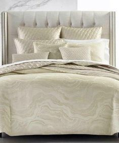 Hotel Collection Moonstone Champagne KING Comforter $500 #HotelCollection #Contemporary Cream Bedding, Bedding Sets, Bedding Decor, King Comforter, Queen Duvet, Bernhardt Furniture, Bed Styling, Bedding Collections, Drapes Curtains