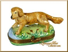 Golden Retriever Limoges box by Beauchamp Limoges www.LimogesBoxCollector.com, collectible animals, dog figurines