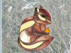 Stained glass chipmunk figurine, outdoor spring garden ornament, home decor, window hanging suncatcher, woodland glass animal, glass art. by ClearerImage on Etsy