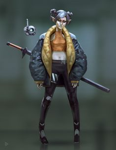 ArtStation - Female Dark Elf Cyberpunk, David Bonilla