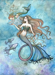 Tattoo? Sanctity of Motherhood Mermaid Mother and Daughter Fine Art Print by Molly Harrison via Etsy