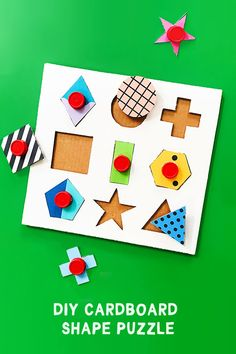 Make: A Modern DIY Cardboard Shape Puzzle Use recycled materials to DIY your own super hip cardboard shape puzzle! A perfect learning toy for toddlers. Recycled Toys, Recycled Crafts, Recycled Materials, Learning Toys For Toddlers, Puzzles For Toddlers, Diy For Kids, Crafts For Kids, Cup Crafts, Help Kids