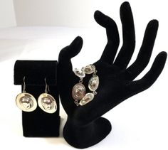 Silver Hat Bracelet and Matching Earrings by KatsCache on Etsy, $44.95