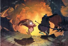 The Secret of NIMH. Mrs. Brisby running from Brutus. Another example of Don Bluth's amazing work.