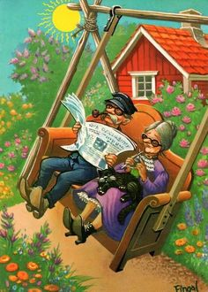 Illustration by Lars Carlsson Art Fantaisiste, Cool Pictures, Funny Pictures, Creation Photo, Old Couples, Paint Cards, Family Humor, Art Et Illustration, Dreams
